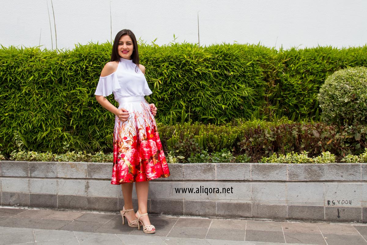 f7a809f98 blusa blanca de chifón y falda campana - aliqora moda
