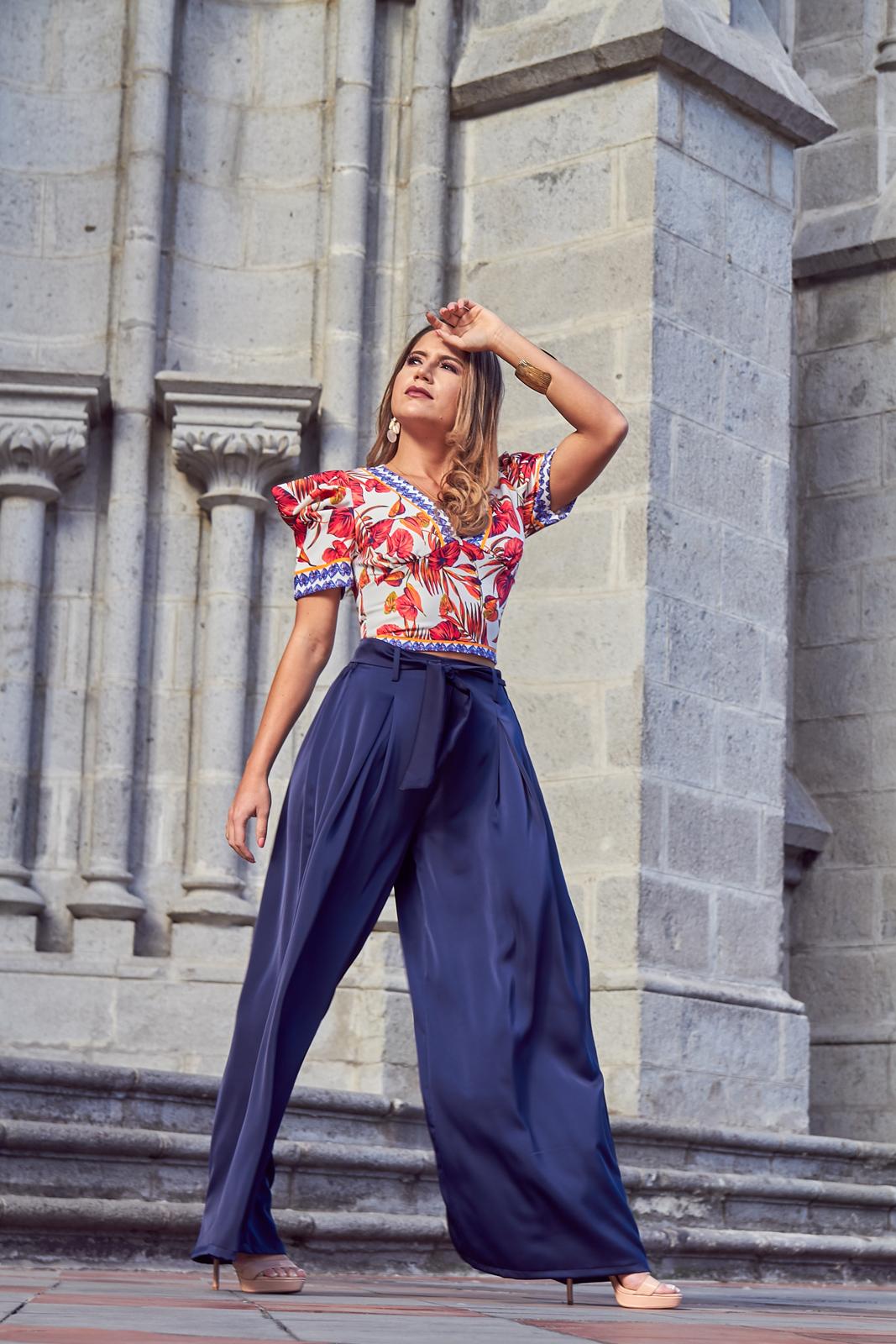 Blusa Estampado En Cuello En V Pantalon Azul Ancho Aliqora Moda